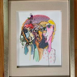 Original framed artwork ooak painting drawing